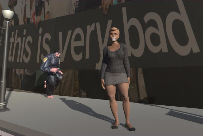 "black female character with a police officer running behind her, in the background an image with protesters holding up a banner that says ""this is very bad"""